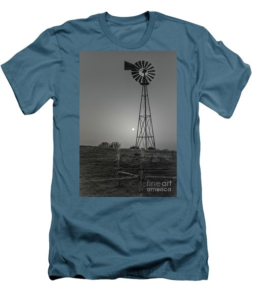 Men's T-Shirt (Slim Fit) featuring the photograph Windmill At Dawn by Robert Frederick
