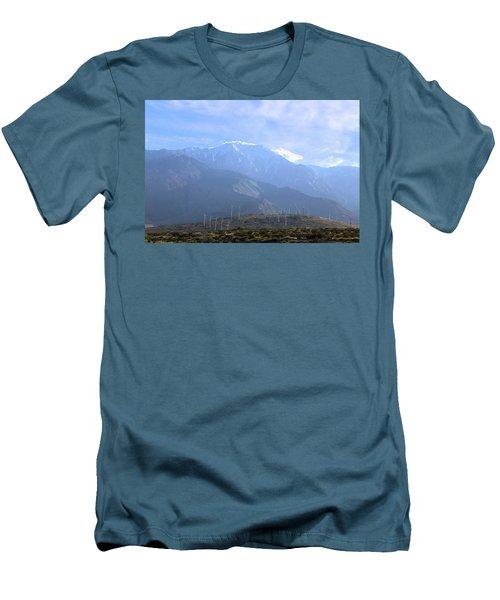 Windmills At San Jacinto Mt Men's T-Shirt (Slim Fit) by Viktor Savchenko