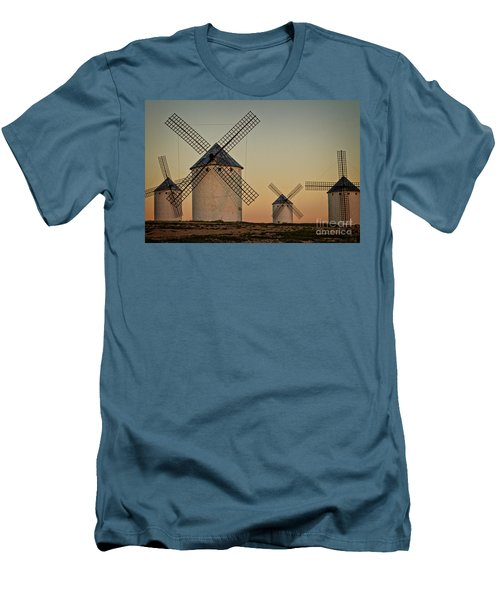 Men's T-Shirt (Slim Fit) featuring the photograph Windmills In Golden Light by Heiko Koehrer-Wagner
