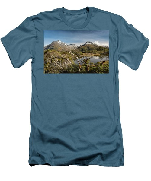 Men's T-Shirt (Athletic Fit) featuring the photograph Windswept Branches On Key Summit by Gary Eason
