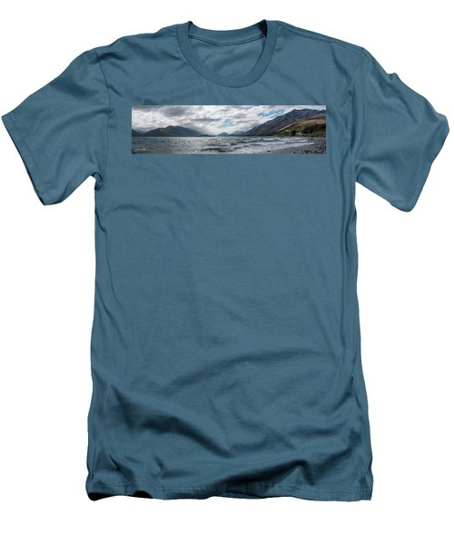 Men's T-Shirt (Athletic Fit) featuring the photograph Windy Day On Lake Wakatipu by Gary Eason