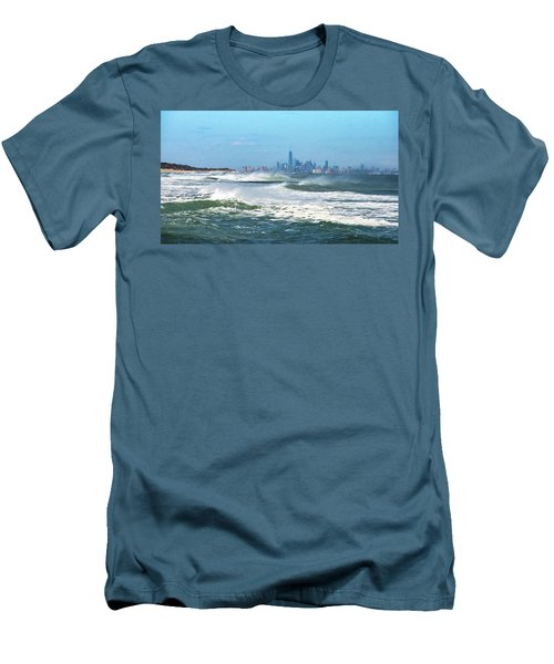 Windy View Of Nyc From Sandy Hook Nj Men's T-Shirt (Slim Fit) by Gary Slawsky