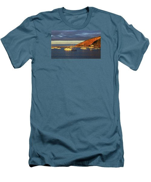 Men's T-Shirt (Athletic Fit) featuring the photograph Winter Afternoon Sun At Friendly Bay by Nareeta Martin