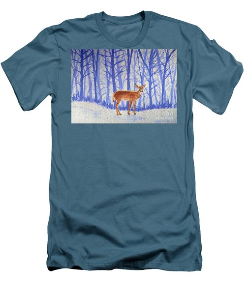 Men's T-Shirt (Slim Fit) featuring the painting Winter Begins by Li Newton