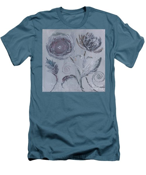 Men's T-Shirt (Athletic Fit) featuring the painting Winter Blooms by Robin Maria Pedrero