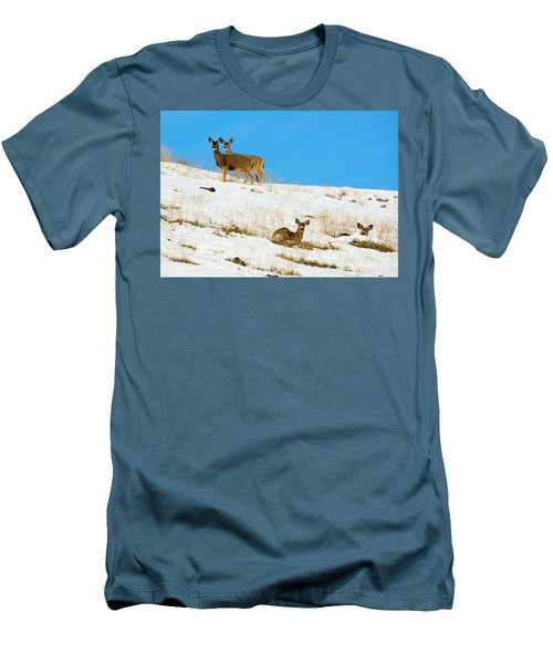 Men's T-Shirt (Slim Fit) featuring the photograph Winter Deer by Mike Dawson