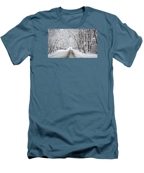Winter Drive On Highway A Men's T-Shirt (Athletic Fit)
