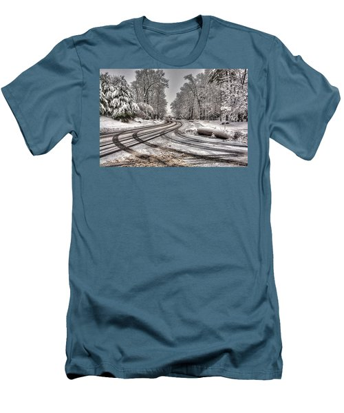 Tracks In The Snow Men's T-Shirt (Slim Fit) by Alex Galkin