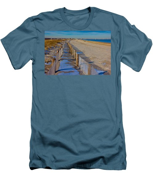 Men's T-Shirt (Slim Fit) featuring the photograph Winter On Duxbury Beach by Amazing Jules