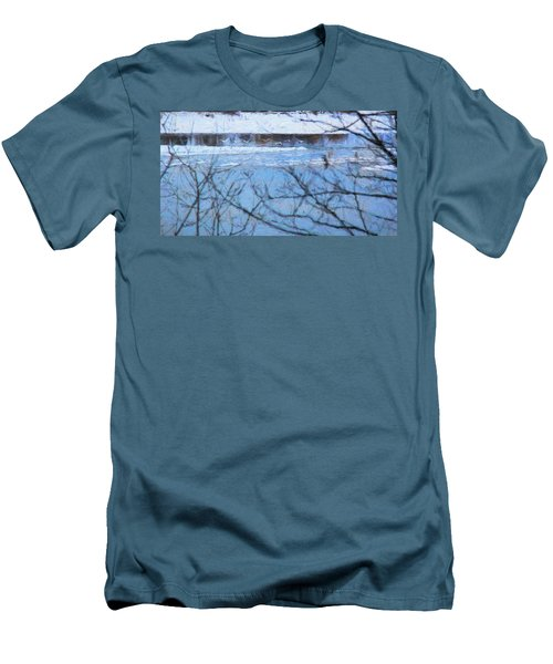 Men's T-Shirt (Slim Fit) featuring the photograph Winter River by Kathy Bassett