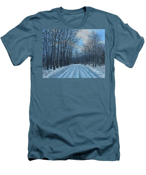 Winter Road To The Gas Well Men's T-Shirt (Slim Fit) by Kathleen McDermott