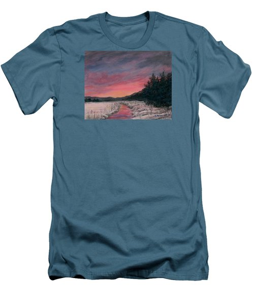 Men's T-Shirt (Slim Fit) featuring the painting Winter Sundown by Kathleen McDermott