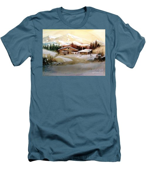 Men's T-Shirt (Slim Fit) featuring the painting Winter Wonderland  by Hazel Holland