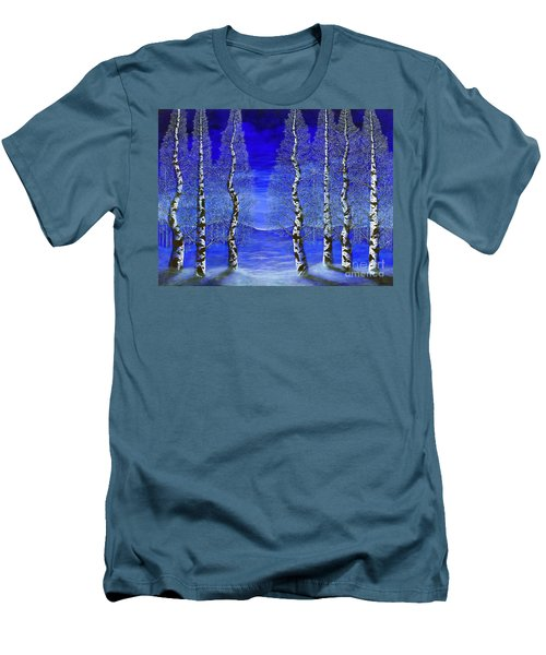 Men's T-Shirt (Slim Fit) featuring the painting Winters Raven Aspen by Rebecca Parker