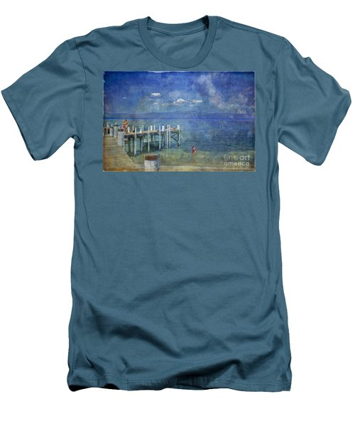 Men's T-Shirt (Slim Fit) featuring the photograph Wish You Were Here Chambers Landing Lake Tahoe Ca by David Zanzinger