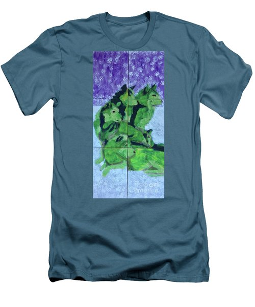 Men's T-Shirt (Athletic Fit) featuring the painting Green Pack Of Wolves by Donald J Ryker III