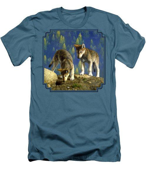 Wolf Pups - Anybody Home Men's T-Shirt (Slim Fit) by Crista Forest