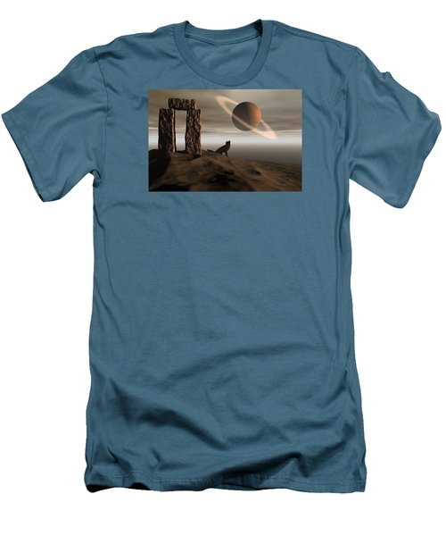 Men's T-Shirt (Slim Fit) featuring the digital art Wolf Song by Claude McCoy