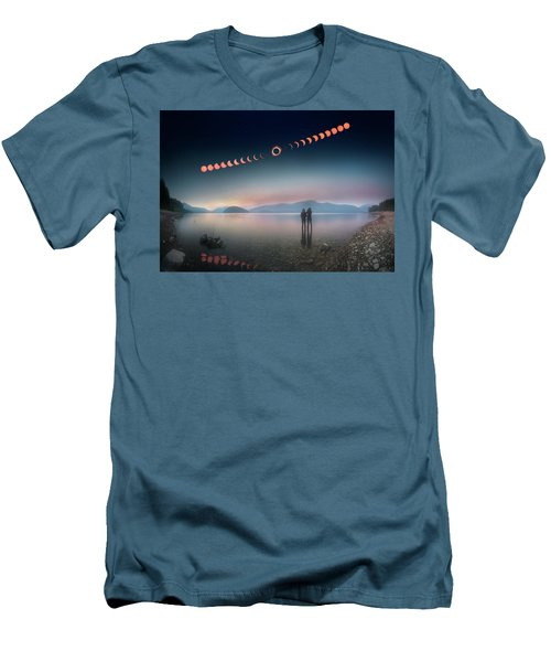Woman And Girl Standing In Lake Watching Solar Eclipse Men's T-Shirt (Athletic Fit)