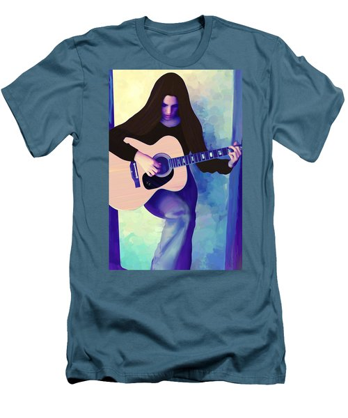 Woman Playing Guitar Men's T-Shirt (Athletic Fit)