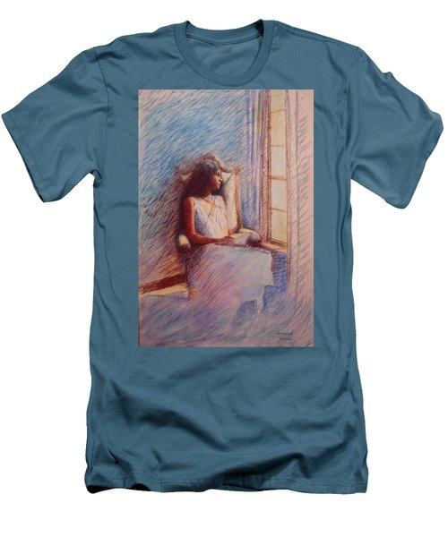 Woman Reading By Window Men's T-Shirt (Athletic Fit)