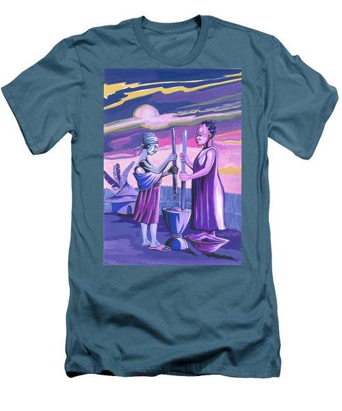 Men's T-Shirt (Slim Fit) featuring the painting Women Pounding Cassava by Emmanuel Baliyanga