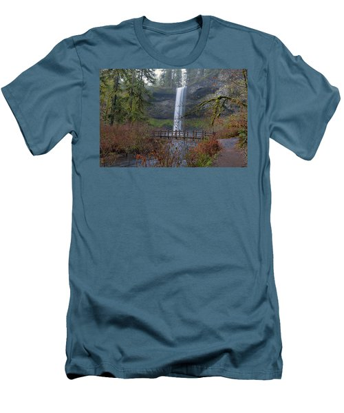 Wood Bridge On Hiking Trail At Silver Falls State Park Men's T-Shirt (Athletic Fit)