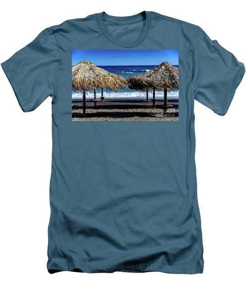 Wood Thatch Umbrellas On Black Sand Beach, Perissa Beach, In Santorini, Greece Men's T-Shirt (Athletic Fit)