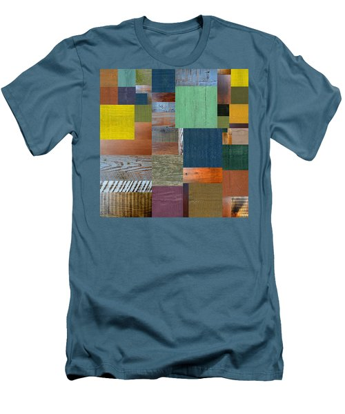 Men's T-Shirt (Slim Fit) featuring the digital art Wood With Teal And Yellow by Michelle Calkins