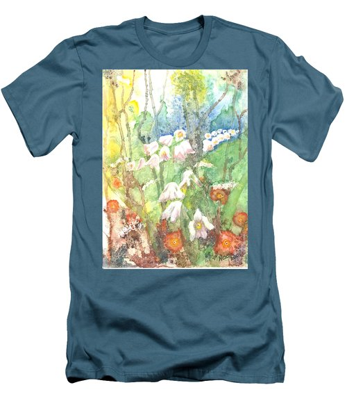 Men's T-Shirt (Slim Fit) featuring the painting Woodland Garden by Renate Nadi Wesley