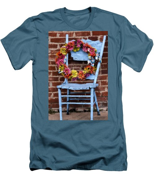 Men's T-Shirt (Slim Fit) featuring the photograph Wreath In A Chair by Joan Bertucci