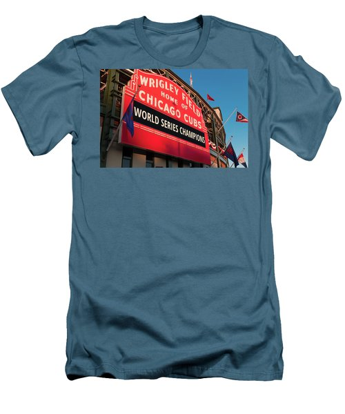 Wrigley Field World Series Marquee Angle Men's T-Shirt (Slim Fit) by Steve Gadomski