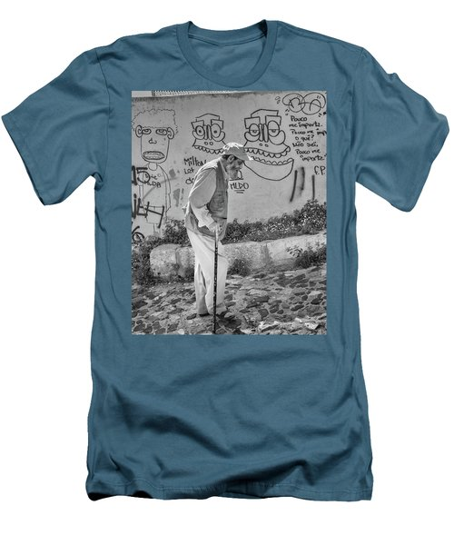 Men's T-Shirt (Slim Fit) featuring the photograph Writing On The Wall by Patricia Schaefer