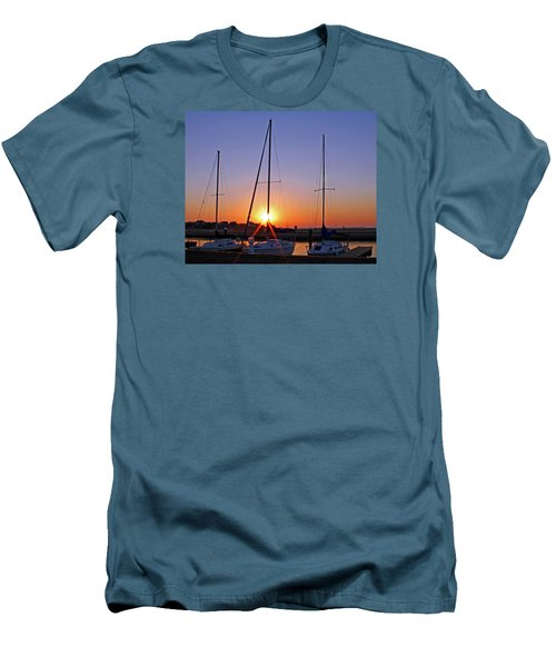 Men's T-Shirt (Slim Fit) featuring the photograph Yacht Club Sunrise by Judy Vincent