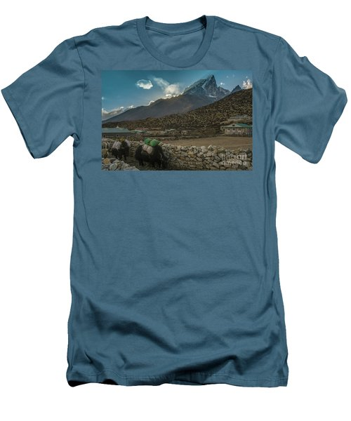 Men's T-Shirt (Slim Fit) featuring the photograph Yaks Moving Through Dingboche by Mike Reid