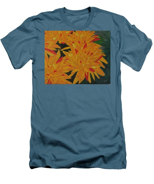 Yellow Chrysanthemums Men's T-Shirt (Slim Fit) by Hilda and Jose Garrancho