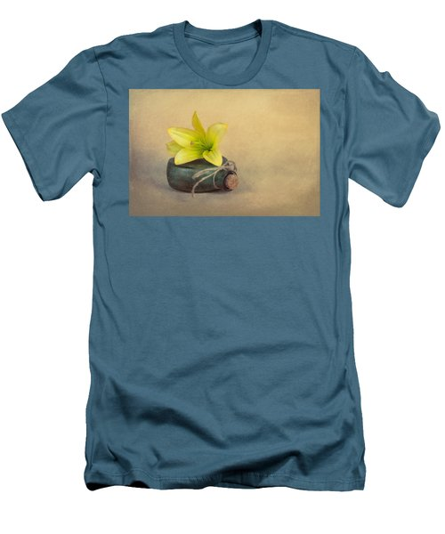 Men's T-Shirt (Slim Fit) featuring the photograph Yellow Lily And Green Bottle by Tom Mc Nemar