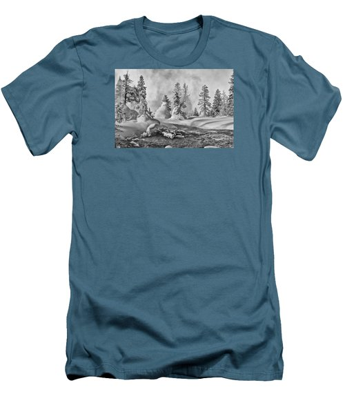 Yellowstone In Winter Men's T-Shirt (Slim Fit) by Gary Lengyel