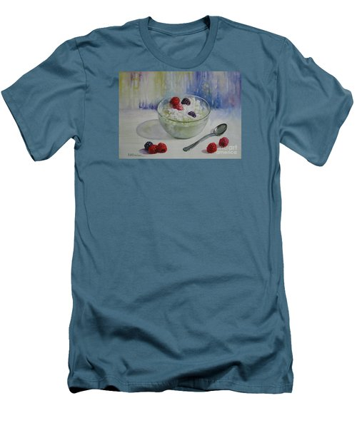 Men's T-Shirt (Slim Fit) featuring the painting Yoghurt Time by Elena Oleniuc