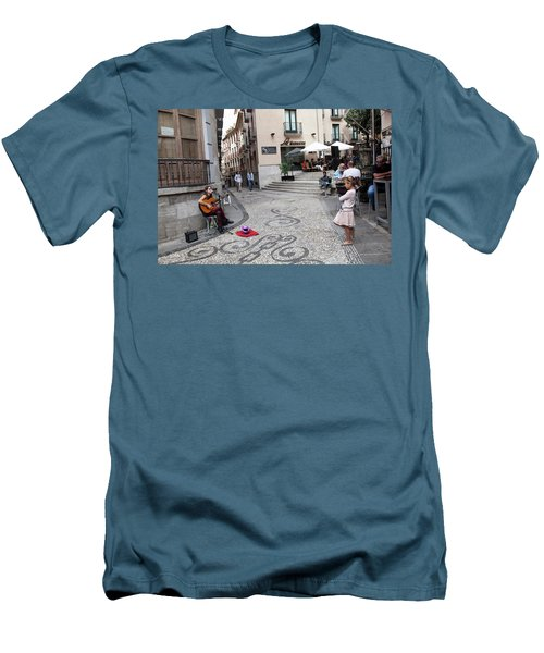 Men's T-Shirt (Slim Fit) featuring the photograph Young Girl Listening To Guitar - Grenada - Spain by Madeline Ellis