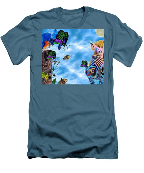Zebras Birds And Butterflies Good Morning My Friends Men's T-Shirt (Slim Fit) by Saundra Myles