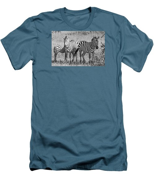Men's T-Shirt (Slim Fit) featuring the photograph Zebras In Thought by Pravine Chester