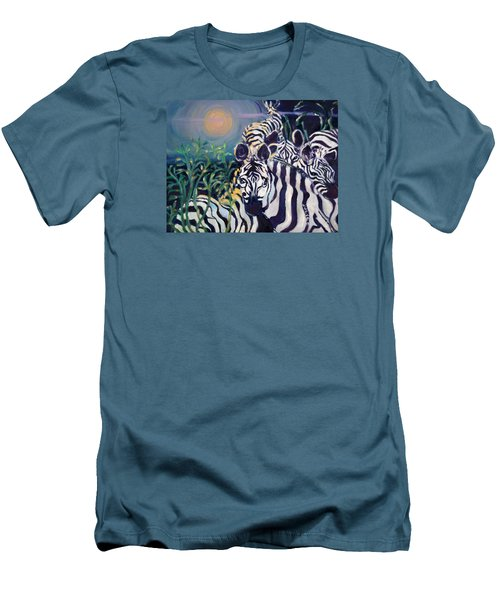 Zebras On The Savanna Men's T-Shirt (Slim Fit) by Julie Todd-Cundiff