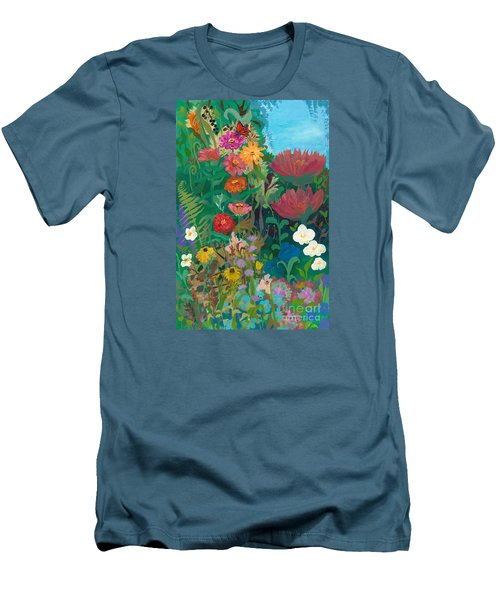 Zinnias Garden Men's T-Shirt (Slim Fit) by Robin Maria Pedrero
