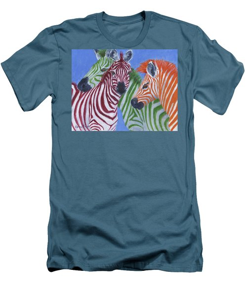 Men's T-Shirt (Athletic Fit) featuring the painting Zzzebras by Jamie Frier