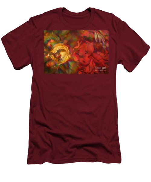Men's T-Shirt (Slim Fit) featuring the photograph  Impressionistic Bouquet Of Red Flowers by Dora Sofia Caputo Photographic Art and Design