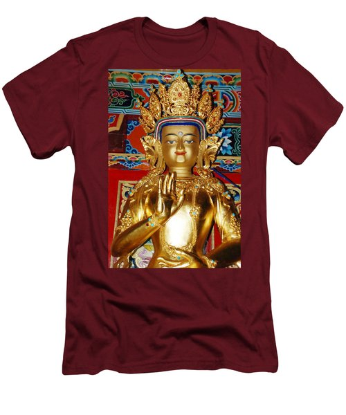Men's T-Shirt (Slim Fit) featuring the photograph Five Dhyani Buddhas by Lanjee Chee