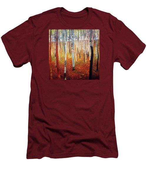 Forest Of Beech Trees Men's T-Shirt (Slim Fit) by Gustav Klimt