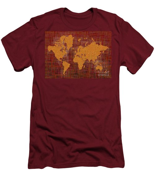 World Map Rettangoli In Orange Red And Brown Men's T-Shirt (Athletic Fit)