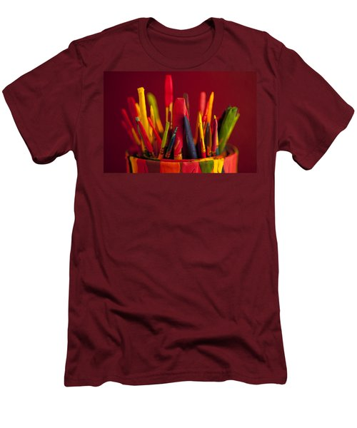Multi Colored Paint Brushes Men's T-Shirt (Athletic Fit)